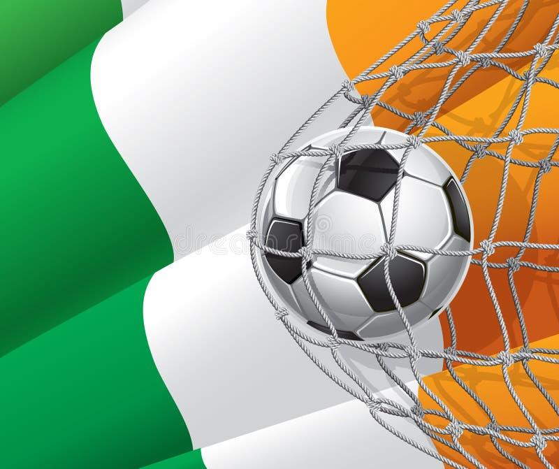 Piłka nożna cel. Irlandczyk flaga z piłki nożnej piłką. royalty ilustracja