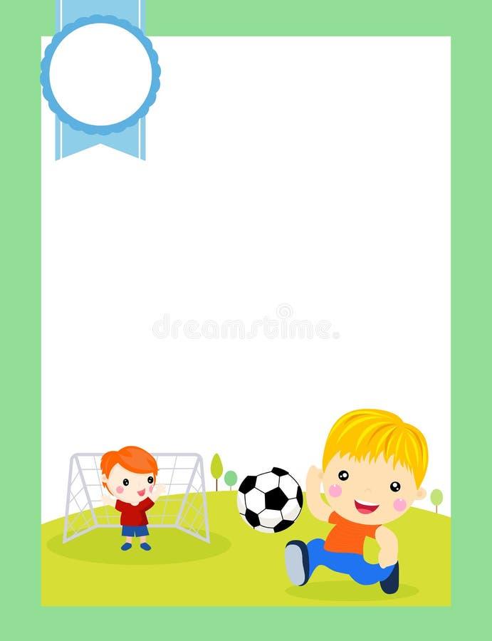 piłka nożna Chłopiec bawić się piłkę nożną na sporta polu postać z kreskówki graczów piłki nożnej sport ilustracja wektor