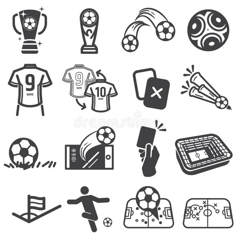 Piłka nożna futbol bawi się ikona set royalty ilustracja