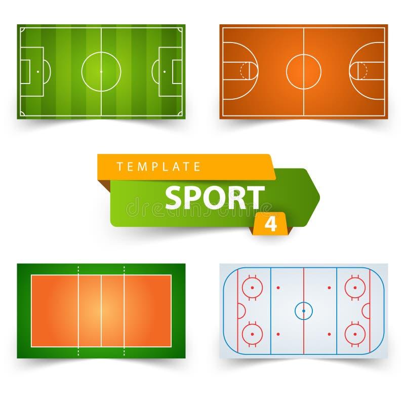 Piłka nożna, futbol, koszykówka, siatkówka, hokej - śródpolny szablon royalty ilustracja