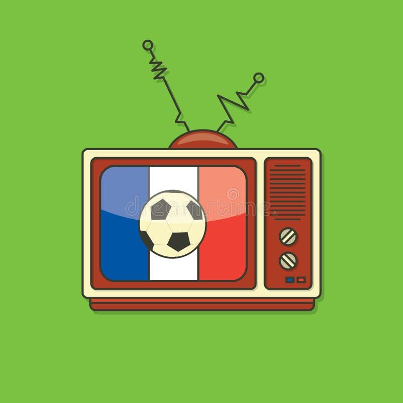 Piłka nożna, Futbolowa telewizja/ Francja flaga kolor ilustracja wektor