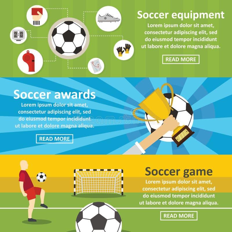 Piłka nożna futbolowego sztandaru horyzontalny set, mieszkanie styl ilustracja wektor