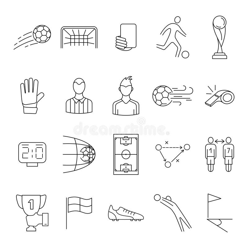 Piłka nożna, futbolowy wektorowy ikona set ilustracja wektor