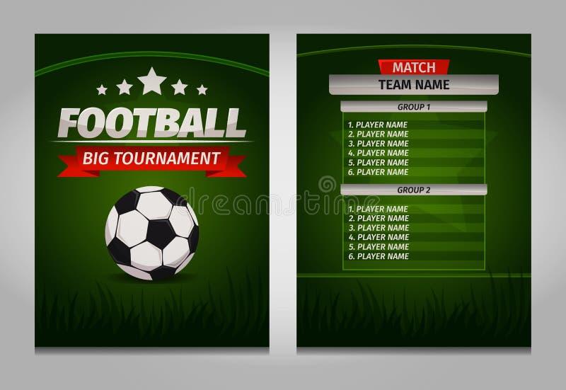 Piłka nożna futbolowych mistrzów tablicy wyników stołu szablonu definitywny wektor ilustracja wektor