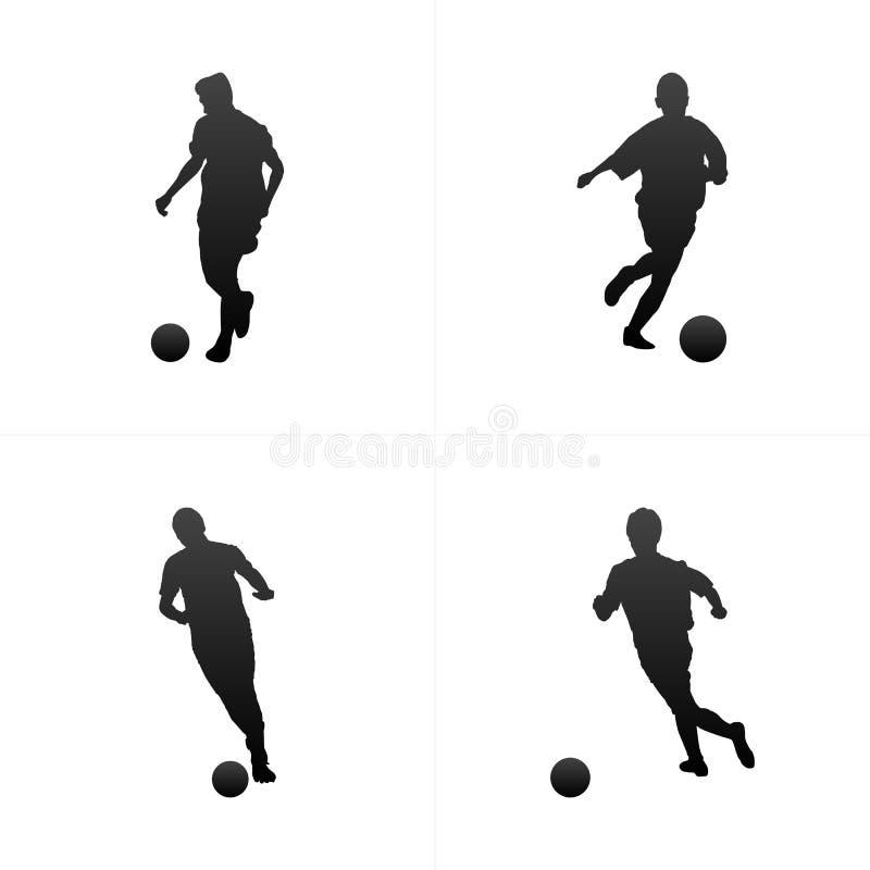 Piłka nożna gracza futbolu sylwetki tła wektorowy set ilustracji