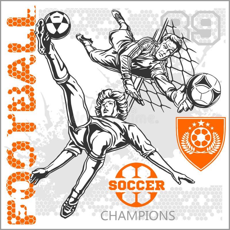 Piłka nożna i gracze futbolu plus emblematy dla sporta ilustracja wektor