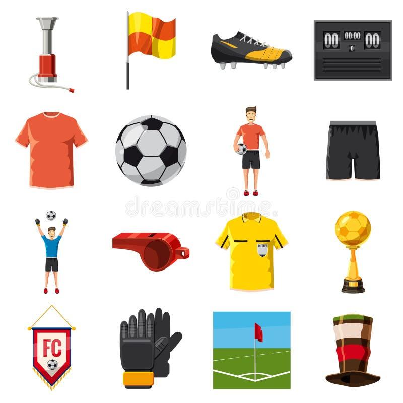 Piłka nożna ikona ustawiający futbol, kreskówka styl royalty ilustracja