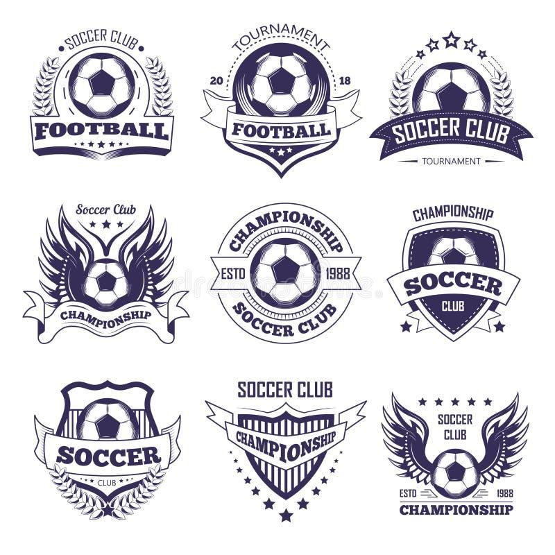 Piłka nożna klub lub liga footballowa wektorowa piłka, gwiazda uskrzydlamy tasiemkowe wektorowe ikony ilustracja wektor
