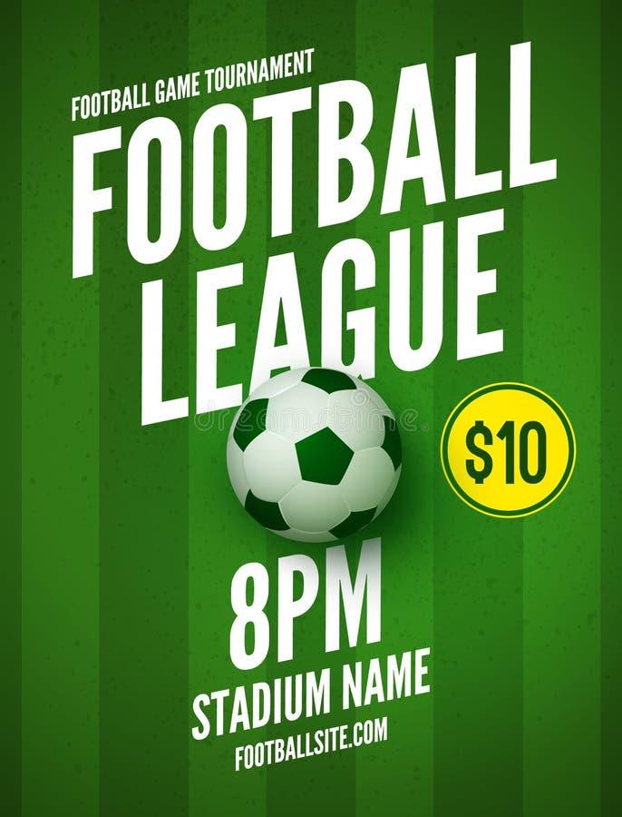 Piłka nożna liga ulotki projekta szablon Piłki nożnej zaproszenia futbolu plakatowi sporty ilustracja wektor