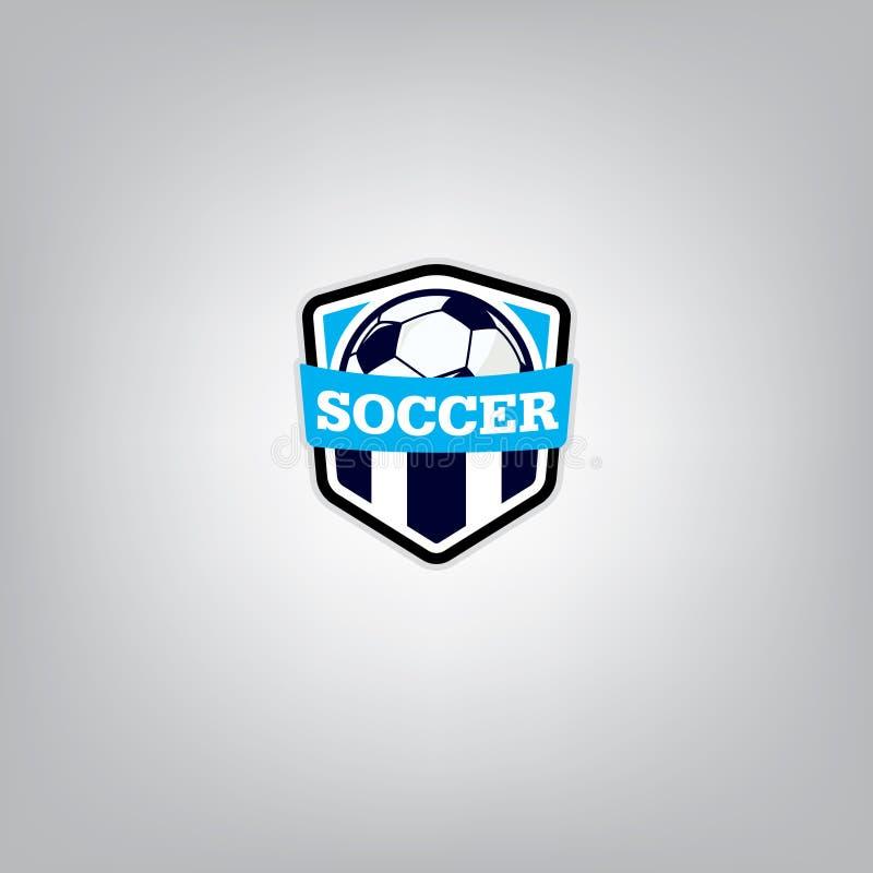 Piłka nożna loga projekta szablon, Futbolowa odznaki drużyny tożsamość, piłki nożnej koszulki Futbolowa grafika royalty ilustracja