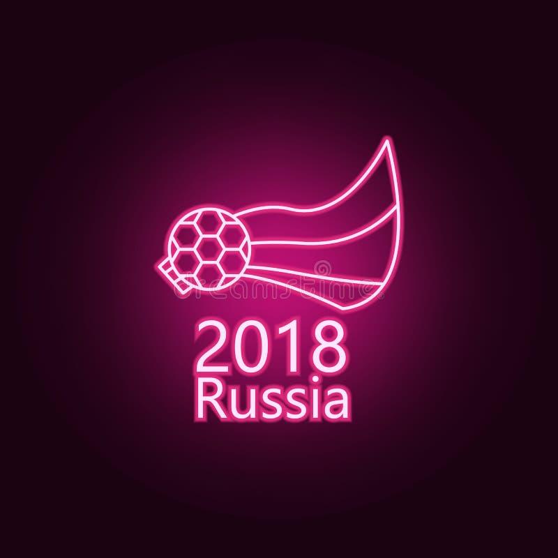 Piłka nożna logo flagi neonowa ikona Elementy mistrzostwa 2018 set Prosta ikona dla stron internetowych, sie? projekt, mobilny ap royalty ilustracja