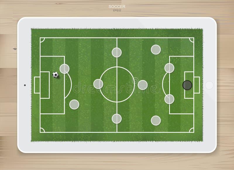 Piłka nożna meczu futbolowego formaci taktyki na dotyka ekranu pastylki tle royalty ilustracja