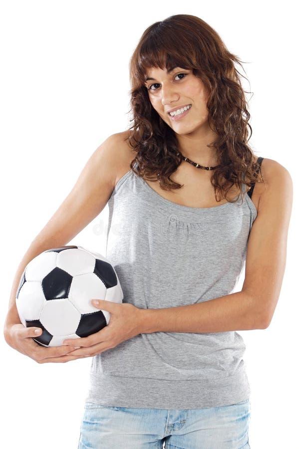 piłka nożna na dziewczynę obraz royalty free