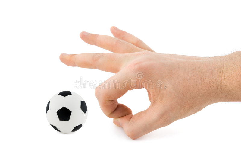 piłka nożna na ręce obrazy royalty free