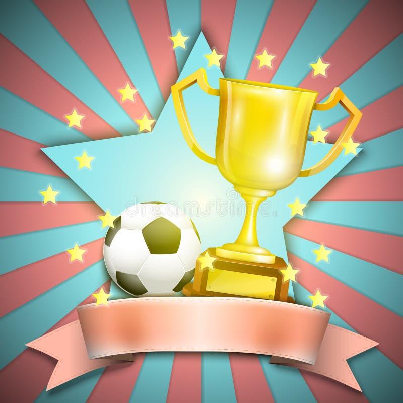 Piłka nożna Retro plakat Z trofeum piłką I filiżanką. ilustracja wektor