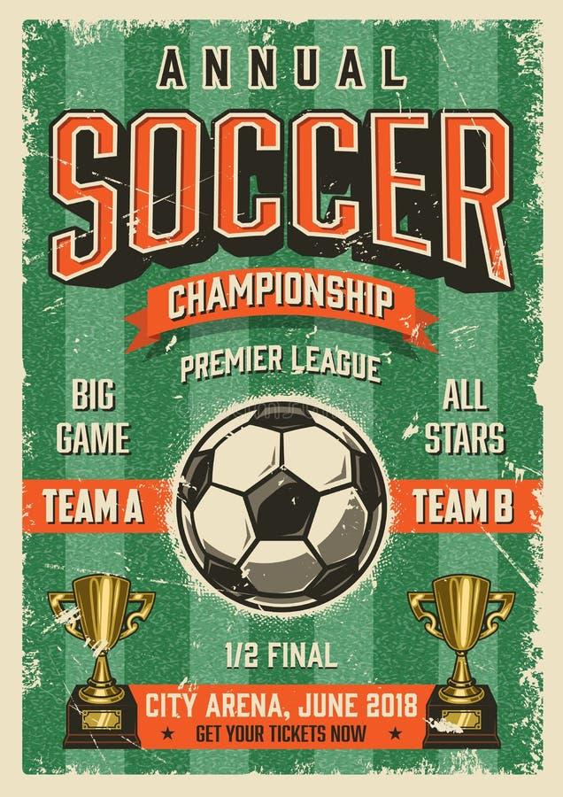 Piłka nożna rocznika grunge stylu typographical plakat ilustracja wektor