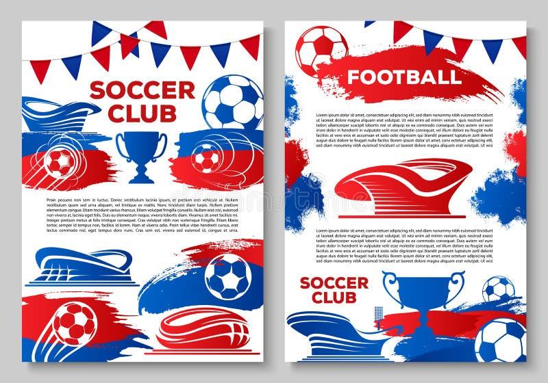 Piłka nożna sporta klubu sztandar z stadionem futbolowym royalty ilustracja