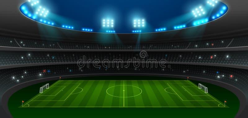 Piłka nożna stadionu futbolowego światło reflektorów obraz royalty free