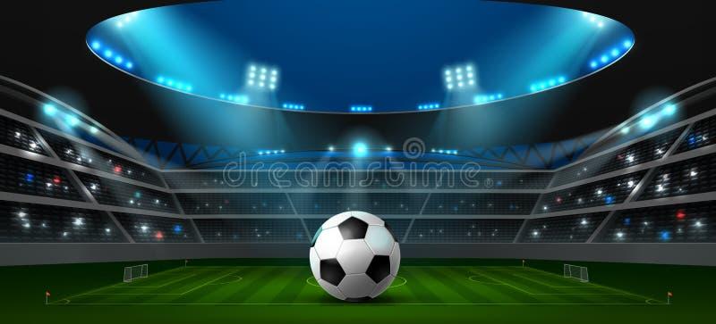 Piłka nożna stadionu futbolowego światło reflektorów zdjęcie royalty free