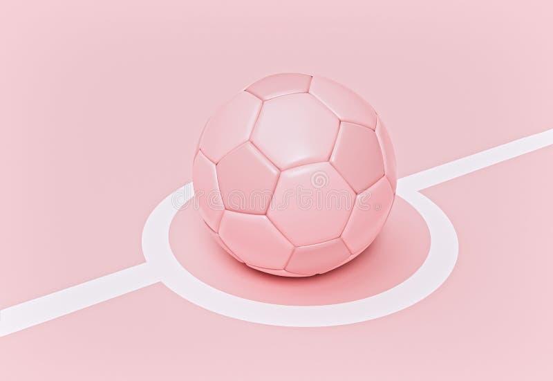 Piłka nożna wyizolowana na różowym tle pastelowym koncepcja minimalna Renderowanie 3w ilustracji