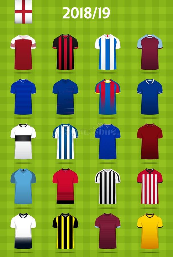 Piłka nożna zestaw lub futbolu szablonu dżersejowy projekt dla Angielskiego futbolu klubu Domowy piłka nożna mundur w frontowego  royalty ilustracja