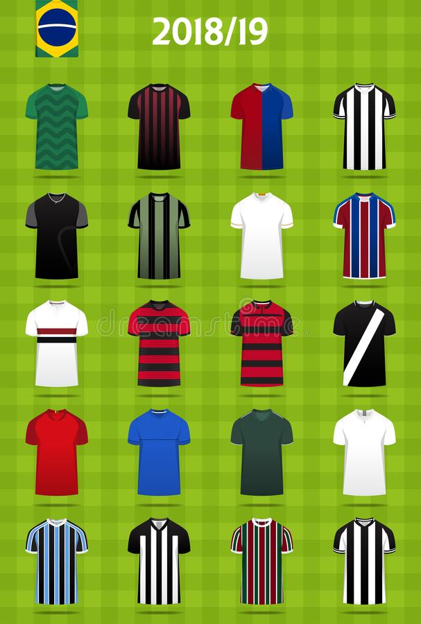 Piłka nożna zestaw lub futbolu szablonu dżersejowy projekt dla Brazylia futbolu klubu Domowy piłka nożna mundur w frontowego wido royalty ilustracja