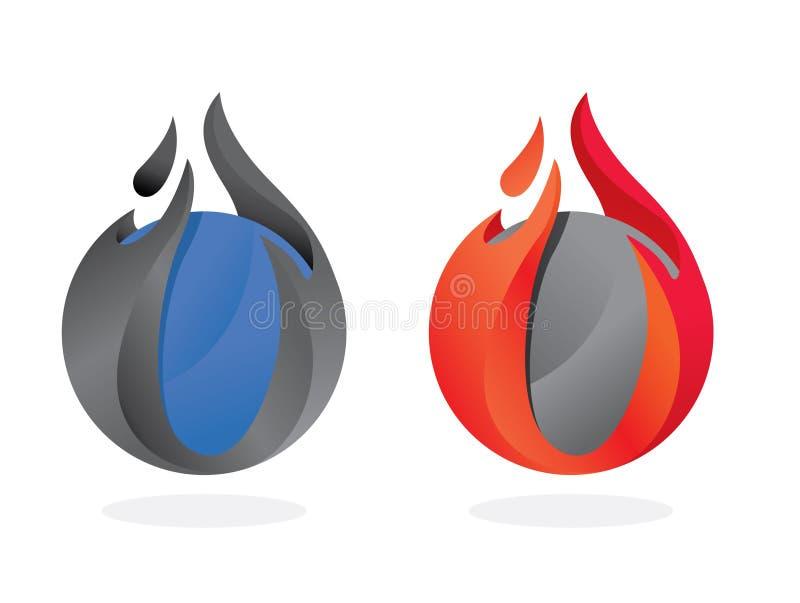 piłka ogień ilustracji