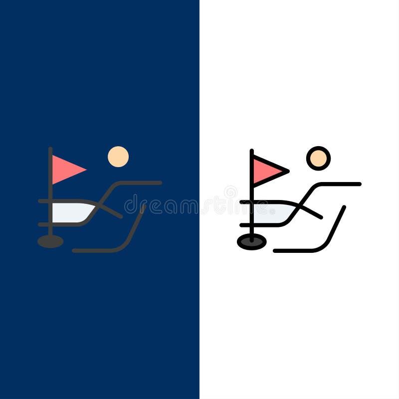 Piłka, pole, Golfowe sport ikony Mieszkanie i linia Wypełniający ikony Ustalony Wektorowy Błękitny tło ilustracja wektor