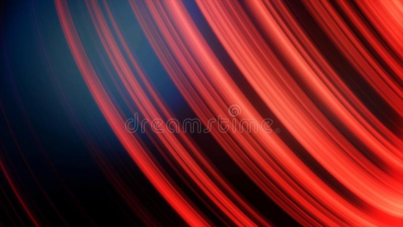 Piłka w neonowych liniach Abstrakcjonistyczna animacja trójwymiarowy czarny sfery przędzalnictwo z neonowymi liniami i świeceniem ilustracji