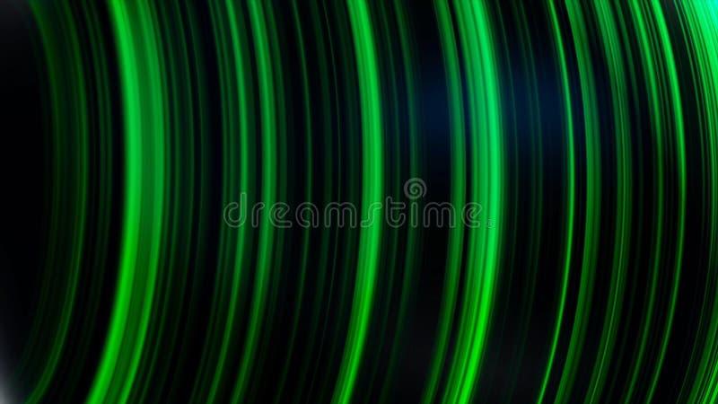 Piłka w neonowych liniach Abstrakcjonistyczna animacja trójwymiarowy czarny sfery przędzalnictwo z neonowymi liniami i świeceniem royalty ilustracja