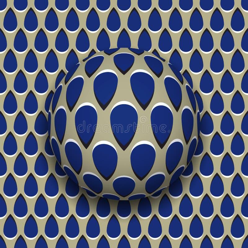 Piłka z błękitem opuszcza deseniowe rolki wzdłuż błękitnej kropli powierzchni ilustracji