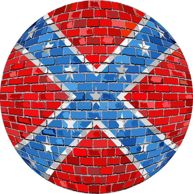 Piłka z Konfederacyjną flaga - ilustracja ilustracja wektor
