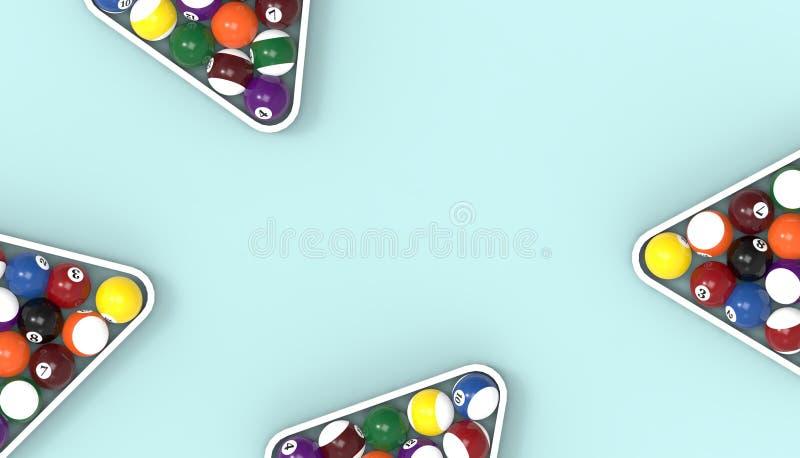 Piłki dla billiards basenu snookeru Cztery zakończenia na w górę stołowego Błękitnego tła royalty ilustracja