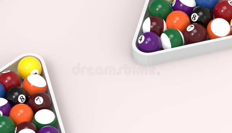 Piłki dla billiards basenu snookeru kopii zamkniętej w górę stół menchii tła na royalty ilustracja