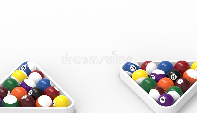 Piłki dla billiards basenu snookeru kopii zamykają w górę odosobnionego na białym tle royalty ilustracja