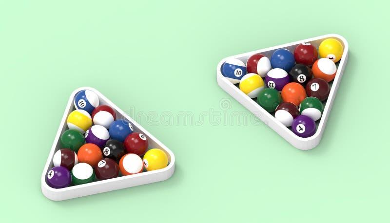 Piłki dla billiards basenu snookeru kopii zamykają w górę zielonego stołu tła na ilustracja wektor
