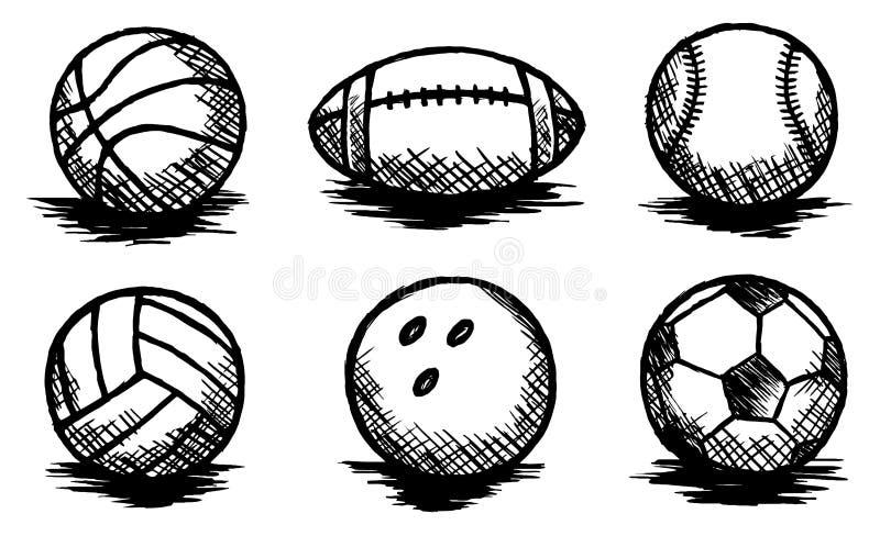 Piłki Doodle, sporty, Drużynowy sport, nakreślenie ilustracji