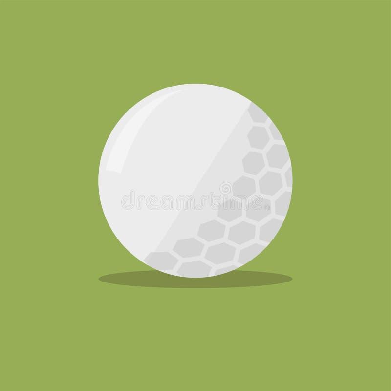 Piłki golfowej płaska ikona z cieniem na zielonym tle również zwrócić corel ilustracji wektora ilustracja wektor