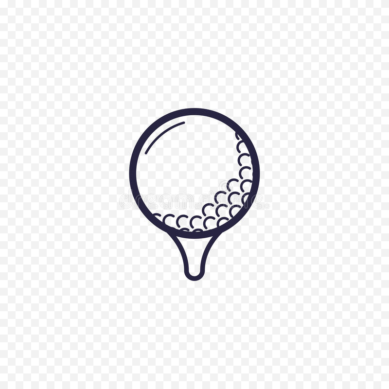 Piłki golfowej prosta kreskowa ikona Grać w golfa cienkich liniowych znaki Zarysowywa sporta gemowego prostego pojęcie dla stron  ilustracja wektor