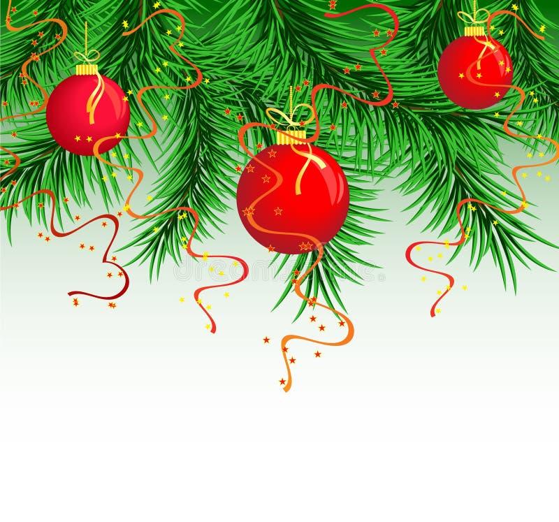 piłki gręplują czerwień nowego rok s ilustracja wektor
