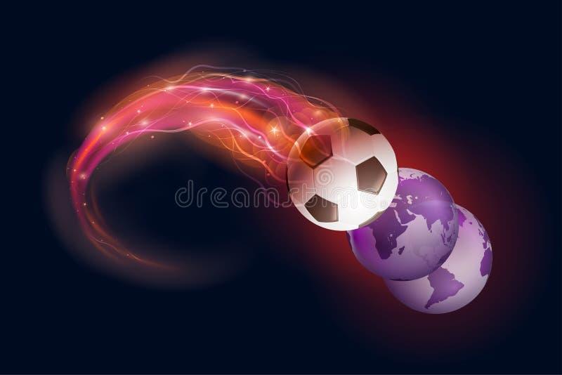 Piłki nożnej piłki światu i komety kule ziemskie na czerni interliniują tło royalty ilustracja