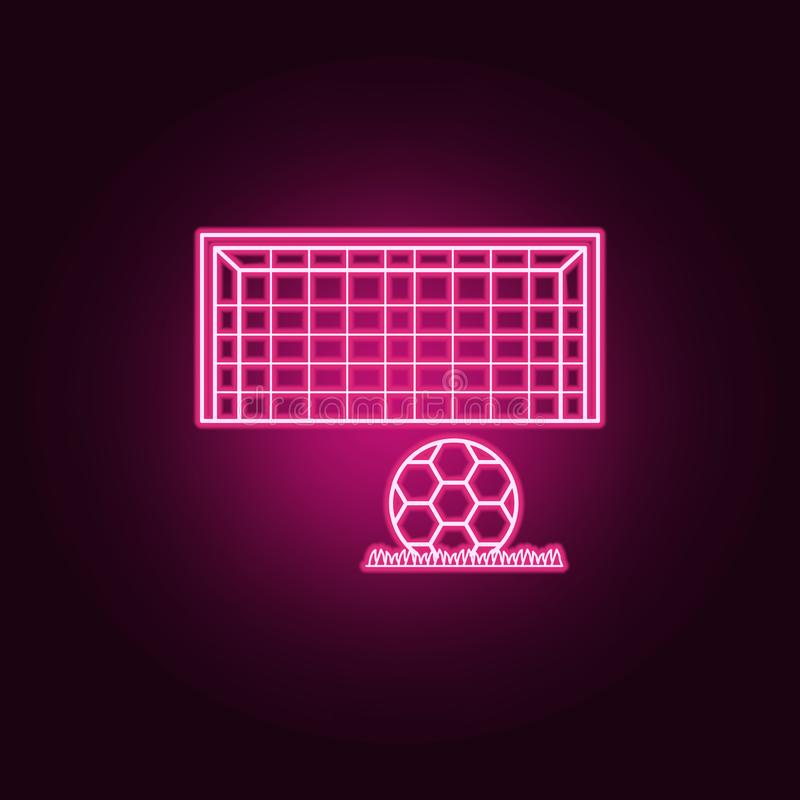piłki nożnej brama i balowa neonowa ikona Elementy mistrzostwa 2018 set Prosta ikona dla stron internetowych, sie? projekt, mobil royalty ilustracja