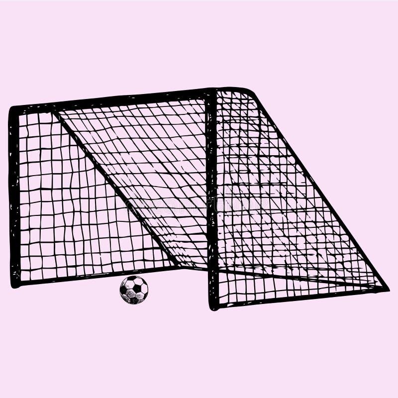 Piłki nożnej brama, piłki nożnej piłka w bramie ilustracja wektor