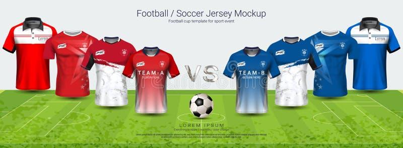 Piłki nożnej bydło i koszulka sporta mockup szablonu drużyna A vs drużynowy b, Graficzny projekt dla futbolowego zestawu lub akty ilustracja wektor