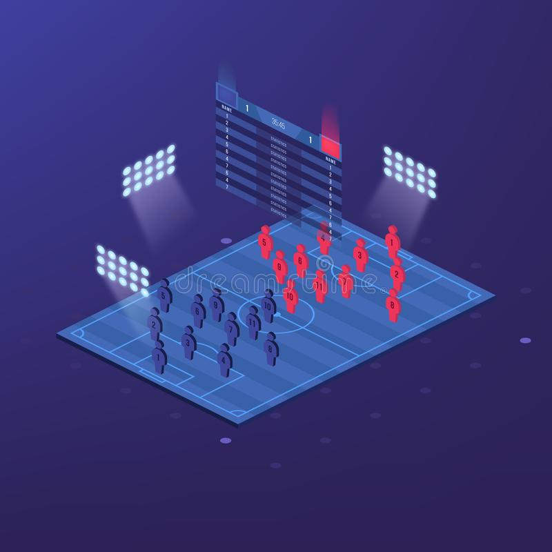Piłki nożnej bydło lub futbolu zestaw z zapałczaną formaci taktyką infographic Gracz futbolu pozycja na futbolowej smole i ilustracji