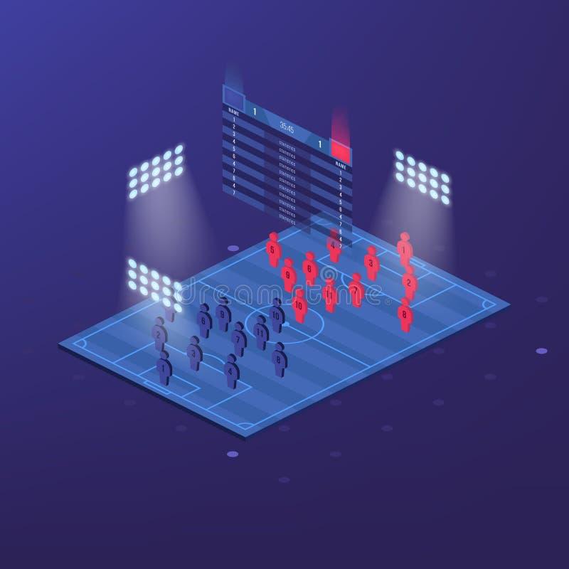 Piłki nożnej bydło lub futbolu zestaw z zapałczaną formaci taktyką infographic Gracz futbolu pozycja na futbolowej smole i ilustracja wektor