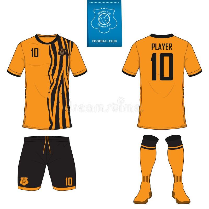 Piłki nożnej bydło lub futbolu zestawu szablon dla futbolu klubu Futbolowy koszula egzamin próbny up ilustracja wektor