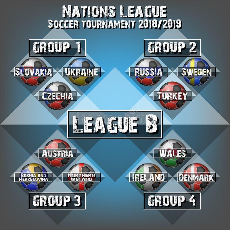 Piłki nożnej drużyny grupy set Futbolowy turniej ilustracji