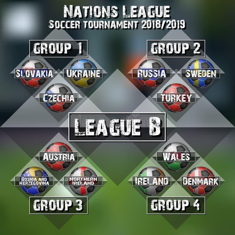 Piłki nożnej drużyny grupy set Futbolowy turniej ilustracja wektor