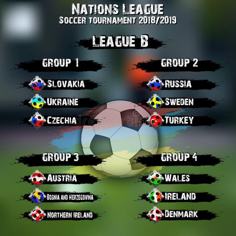 Piłki nożnej drużyny grupy set Narody ligowi royalty ilustracja